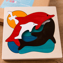 1 Set Children's Creative Multi-layer Wood Dinosaur Dolphin Polar Bear Wolf Cartoon Animals Puzzles Kids Educational Toys Gifts