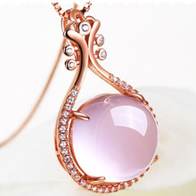 Rose Gold Natural Powder Crystal Pipa Moonstone Pendant Necklaces Clear Crystal Rose Gold Chain(China)