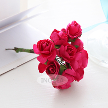 144Pcs (Size 2cm) Handmade Mulberry Paper Craft flower,Hot Pink Roses flowers, Decoration, Wedding decoration #R103(China)