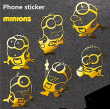 2 pcs Hot Minions reactor metal stickers 3D Minions Metal Sticker phone stickers Car Computer Mobile Cell Phone sticker