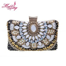 Vintage bohemian rhinestone beaded bags jeweled clutches evening crystal totes women evening party handbag bridal wedding wallet