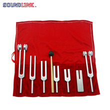 Free Shipping 128HZ Medical Neurological Tuning Fork Set for Sound Healing Therapy Aluminum Alloy/Silver with Hammer Cloth Bag