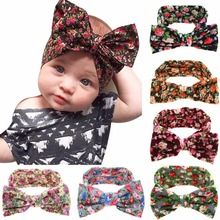 Autumn Winter New Kids headbands Little Girls cotton printed flower headwraps hairbands Large bow Turban 1pc  strecth headwraps
