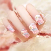 24pcs/box Flowers pearls pink False Nail Acrylic French Fake Nails Clear Full Cover Nail Decorated Beauty Nail Art Manicure tool
