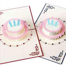 3D Pop Up Greeting Card Handmade Happy Birthday Cake Valentines Day Thank You Postcard