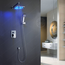 BECOLA high quality LED shower set Pressurized sprinkler suit shower Square head Hot shower  set
