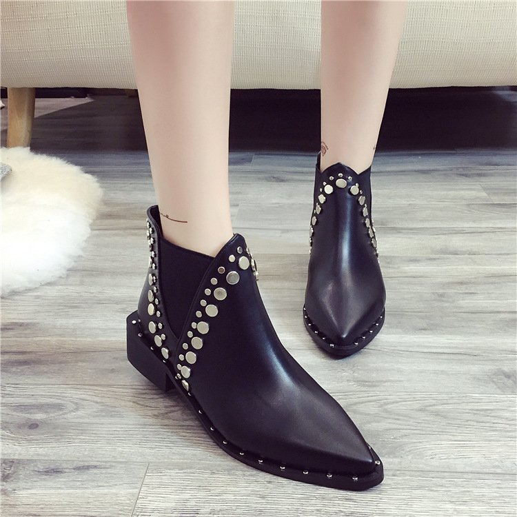 SWYIVY chelsea boots woman rivet pointed toe autumn 2018 new female motorcycle ankle boots thich low heel ladies martin boots 40