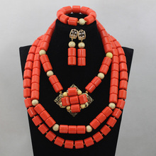 Luxury Stunning! Native American Style Coral Beads Necklace Set Lovely Necklace Accessories Fashion African Jewelry Set ABL913
