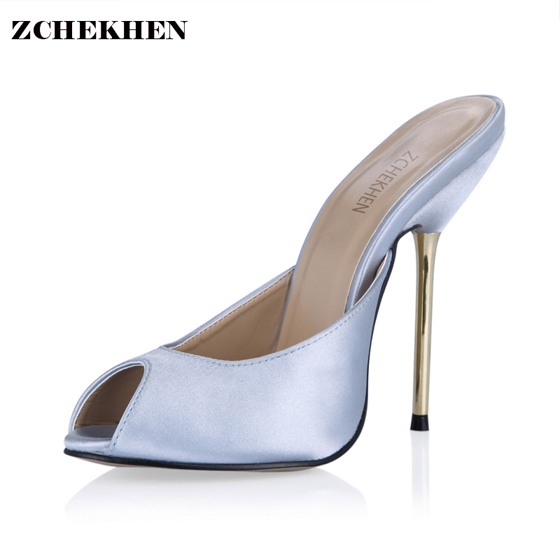 Sexy leather Fashion Mules Shoes Woman peep toe Slingback Silver Pumps gold high Heels Ladies Shoes 3845-F1<br>