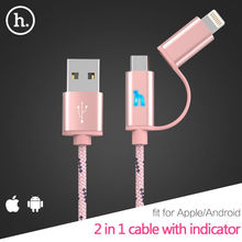 Nice UPL20 2in1 Charging Cable Data Sync For Apple Lightning For iPhone 7 6 6s Plus 5s SE iPad Samsung Micro USB Cable indicator