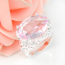 Promotion Oval Pink Fire Topaz Silver Plated Wedding Rings Russia USA Holiday Gift Rings Australia Rings