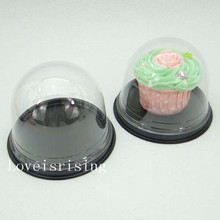 30sets=60pcs Clear Plastic Cupcake Packaging Box Cake Dome Containers Wedding Party Favor Boxes Supplies(China)