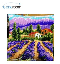 2th CX0066 DIY Needlework Kit Unfinished Acrylic Yarn Embroidery Pillow Tapestry Canvas Cushion Front Cross Stitch(China)
