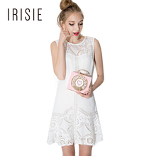 IRISIE Apparel White Lace Contrast Female Vestido Cut Out Slim A-line Dress Women Clothing Sleeveless Loose Sexy Mini Dress(China)