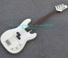 free shipping new fretless electric bass in white +foam box F-1899