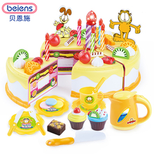 Beiens Garfield 37Pcs Kitchen Toys Pretend Play Cutting Birthday Cake Food Toy Tableware Cocina De Juguete Plastic Play Food Tea(China)