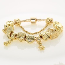 Gold color Metal Charm Bracelets Original Classic Designer Family Beads Women's Fashion Jewelry Mother's Day Gifts