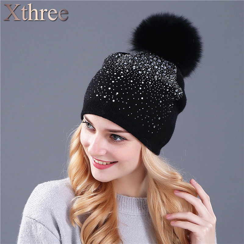 [Xthree] women winter beanie hat Rabbit fur wool knitted hat the female of the mink pom pom Shining Rhinestone hats for women(China (Mainland))
