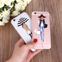 Mobile Phone Case For iPhone 7 8 6 6s 5 5S SE Bag New Modern Dress Shopping Girl Transparent Soft TPU Cover for iPhone 7 8 Plus(China)