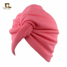 New luxury plain cotton stretchy Turban Hat Doo Rag Chemo Skull cap women lady Hair Wrap Hijab Head Scarf(China)