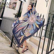 PINMI 2017 New Design Korea Scarf Geometric Bohemia Ethnic Cotton Voile Scarf For Women Long Shawl Tassel Wrap(China)