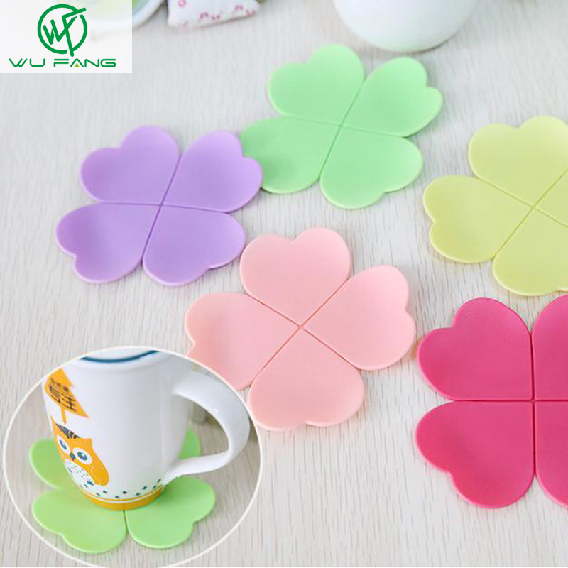 Stereoscopic Clover heart-shaped silicone coaster ...