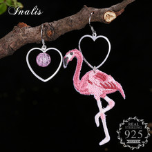 INALIS Lady Cute Summer Pink Heart Crane Shaped Luxury Asymmetrical Dangle Drop Earrings for Women 925 Sterling Silver(China)