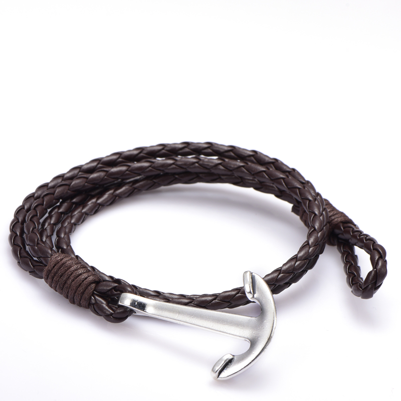 NIUYITID Man Anchor Bracelet 41cm PU Leather Bracelet For Men Women Fashion Wristband Charm Braclet Male Accessories Jewelry (5)