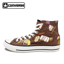 Brown Converse All Star Men Women Shoes Custom Chocolate Original Design Hand Painted Shoes High Top Canvas Sneakers Man Woman(China)