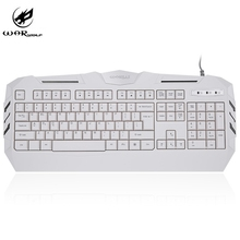Warwolf K3 Wired Gaming Keyboard with 104 Keys Backlight White Axis USB Game Keyboard with 2M Cable For PC Laptop Notebook