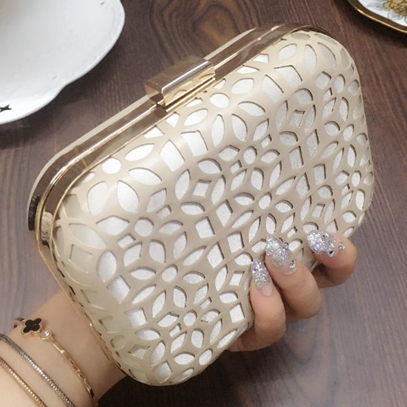 2017 Designer Women Hollow Out Evening Bag Lady Day Clutch Bags Mini PU Leather Chain Hand Bag Bridal Wedding Party Wallet Bolso