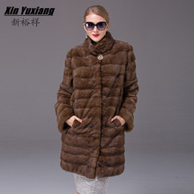 Fashion Women`s Real Mink Fur Coats Thick Warm Customizable Winter Fur jacket Outwear Parka For Female Girl's Genuine Fur Coat