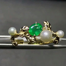 18k gold natural gemstone ring hand jewelry hot sale MEDBOO green color 0.4ct emerald ring with waterfresh pearl and diamond(China)