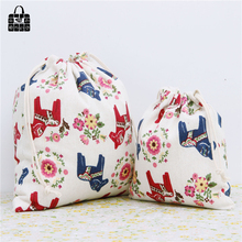 Cute horse design cotton linen fabric dust cloth bag Clothes socks/underwear shoes receive bag home Sundry kids toy storage bags