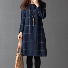 2017 New Autumn Casual Women Cotton Linen Plaid T Shirt dress,Vintage Woman Winter Maxi Dress, Women's Long Sleeve Thin Dresses(China)