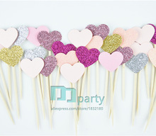 40PCS Handmade Princess pink Heart Wedding Cupcake Toppers, baby shower Girls Birthday Party Supplies Decoration,Dessert Topper