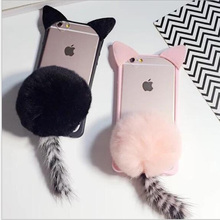 For iphone 5 5s SE Cute Cartoon Cat Ear Tail Phone Case Plush Fur Ball Acrylic Back Cover For iphone 6 6s Plus Shell Capa