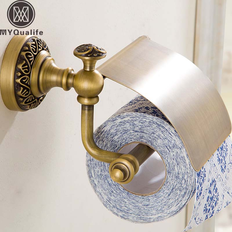 Wholesale and Retail Artistic Toilet Paper Holder Brass Antique Wall Mounted Roll Paper Towel Rack with Cover<br>