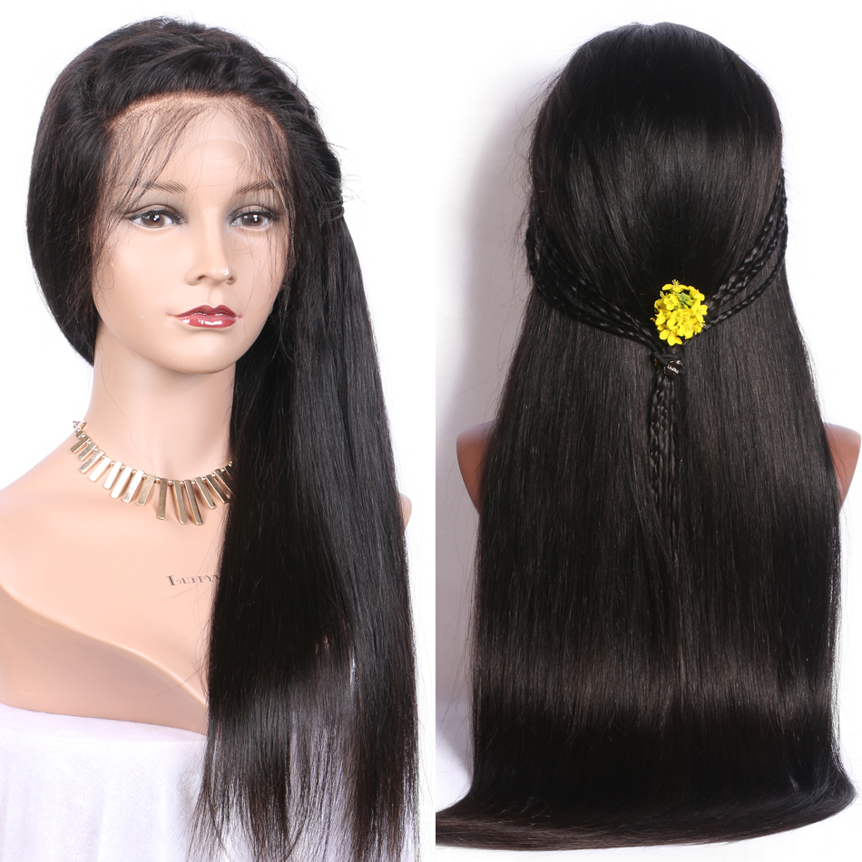 Luffy Brazilian Hair Silk Base Full Lace Human Hair Wigs With Baby Hair For Black Women Non Remy Silky Straight Natural Color