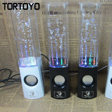 Pair of Stylish Water Dance Computer Stereo Colorful LED Spring Subwoofer USB Speaker for Mobile Phone Smart Media Music Player