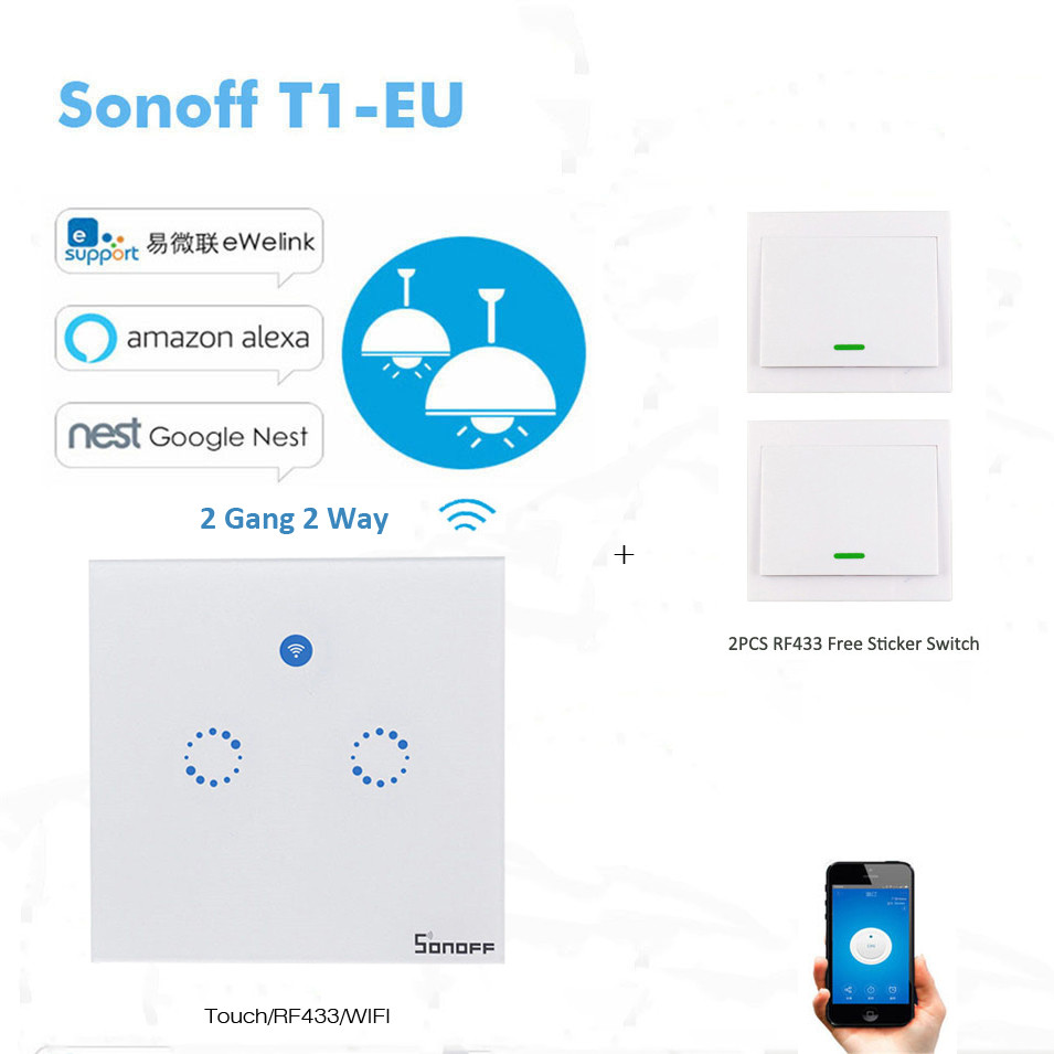 Sonoff T1 Wifi Smart Wall Touch Light Switch EU Standard 2 Gang 2 Gang Touch/WiFi/433 RF/APP Remote Smart Home Work with Alexa<br>