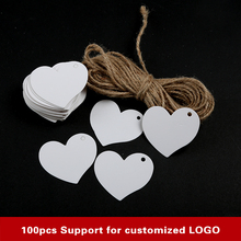 100Pcs/Lot Kraft Paper labels lace scallops head luggage wedding etiquette Rating DIY chain Blank hang tag Kraft Be customized(China)