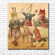 pastoral figure animals goats ducks fox rabbit canvas printings oil painting printed on canvas home wall art decoration picture(China)