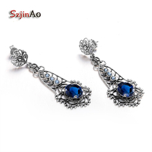 Szjinao Classic Adornment Design Restoring Ancient Ways Blue Crystal 925 Sterling Silver Natural Pearl Earrings Wholeasale