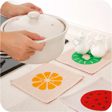 1pc Cotton Fruit Coasters Pad Non - slip Anti - hot Thicker Table Pad Cup Heater Cup Mat Placemats Coaster Coffee Cups(China)