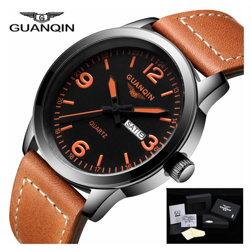 Men Watches 2017 Top Brand Luxury GUANQIN Watch Waterproof Week Date Sport Leather Strap Quartz Watch Relogio Masculino<br>