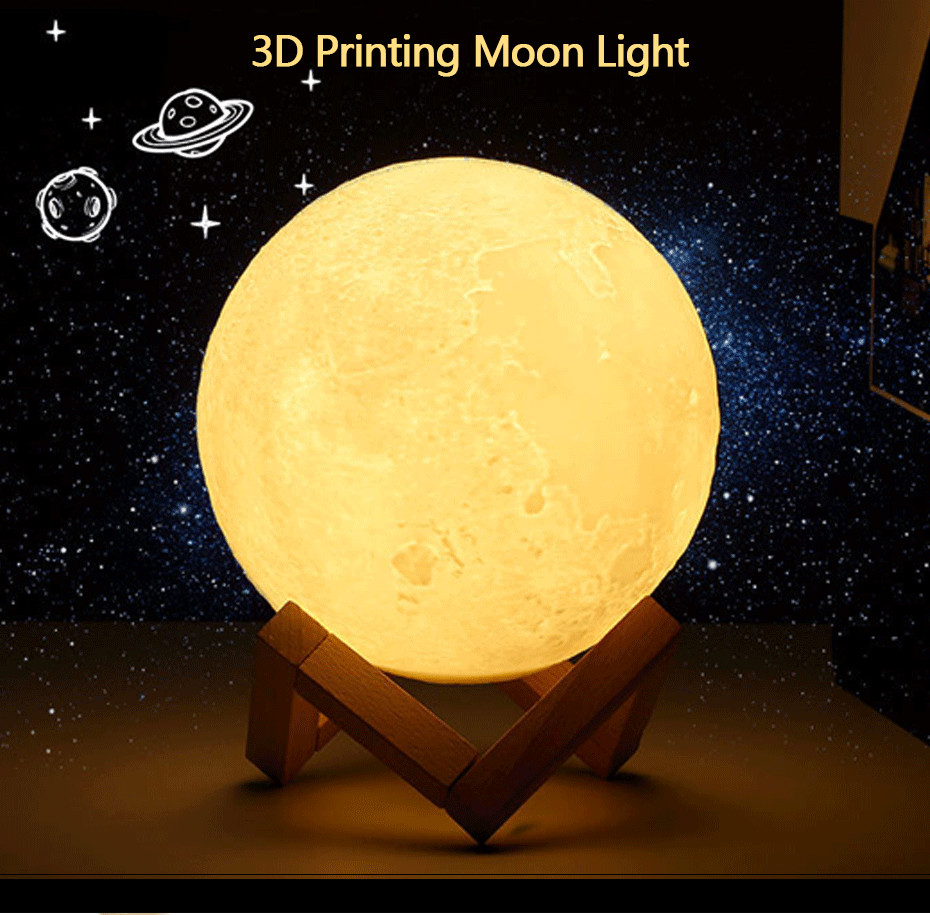 3D Full Moon Lamp Led Night Light USB Rechargeable 3D Print Moon Lamp Touch 2 Color Change / 16 Colors Lampara Luna Lamp Moon 2