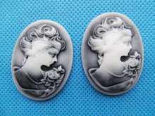 100pcs 30mmx40mm Oval Flatback Resin Relief Beauty Head Cameo Cabochon Charm,Fit Base Setting Tray Bezel,DIY Jewellery Accessory