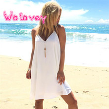 Wolovey#20 2017 New Style Womens Tank Tops Sexy Chiffon V-Neck Double-Deck Sleeveless Dress Cami Simple Style Modest Mini Dress(China)