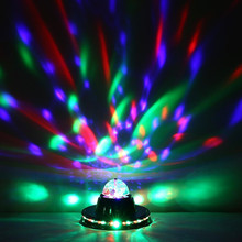 3W Multi LED Portable Stage DJ Light Auto Rotating Bulb with EU plug for Home Party Bar Club Holiday Show changing Color